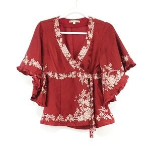 Nanette Lepore red floral silk kimono wrap top
